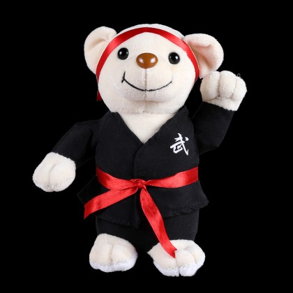 PLUSH WHITE BEAR WITH BLACK UNIFORM