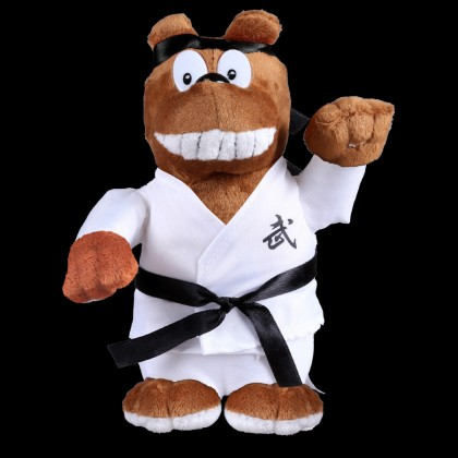 PLUSH BROWN BEAR WITH WHITE UNIFORM