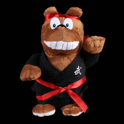 PLUSH BROWN BEAR WITH BLACK UNIFORM