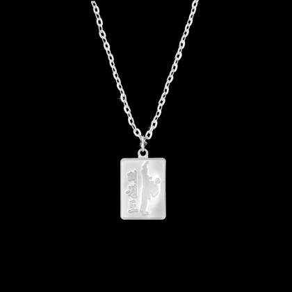 SILVER KICKING TKD NECKLACE