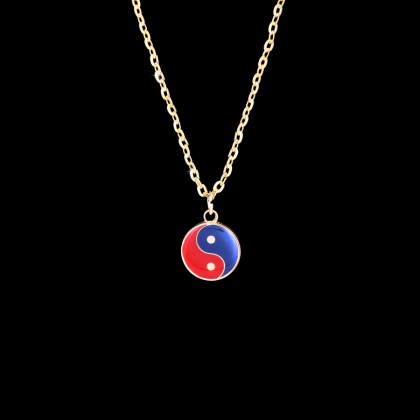 GOLD RED/BLUE YIN YANG NECKLACE