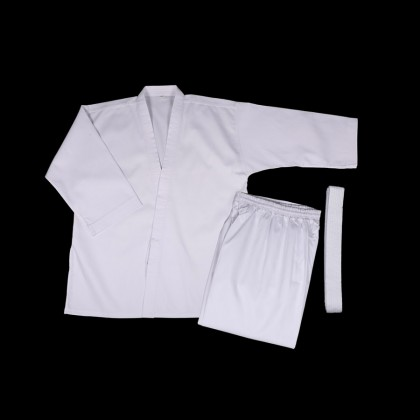 DYNAMIC RIBBED WHITE KARATE UNIFORM